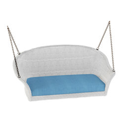 Rockport Wicker Patio Swing, White