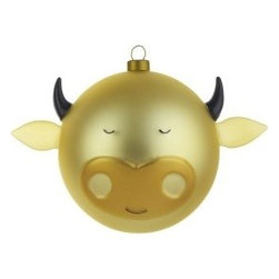 "Alessi - Alessi ""Bue"" Christmas Bauble - Instead of a reckless bull in a china shop, how about an elegant bull made out of blown glass? This artfully blown Christmas ornament sits regally on your tree, thus proving that even a bull can be delicate and quite graceful, especially when gilded in gold."