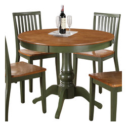 "Steve Silver Furniture - Steve Silver Candice Round Dining Table in Oak and Green - The Candice collection offers country-style simplicity, transforming any dining area into a charming sanctuary. The green and oak Candice pedestal table features a beautifully turned base with a 42"" round top that will seat four comfortably. Add the Candice green and oak side chairs to complete the look."
