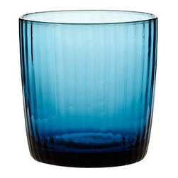 "Spencer Hand-Blown Double Old-Fashioned Glass, Set of 6, Blue - Our glasses are hand blown to achieve their shape, colors and weighty bases. Tumbler: 2.75"" diameter, 5.25"" high; 12.5 fluid ounces Double Old-Fashioned: 3"" diameter, 3"" high; 8 fluid ounces Made of handblown glass. Set of 6. Dishwasher-safe."