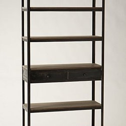 "Anthropologie - Decker Bookshelf - Caster legsFive shelves, two drawersMango wood, iron78.75""H, 35.5""W, 13.75""DImported"