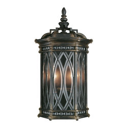 Fine Art Lamps - Warwickshire Outdoor Coupe, 611881ST - Send a beacon of welcome to your family and guests with this handsome exterior coupe. Warm illumination invites from individually beveled, leaded glass panels set in a dramatic dark wrought iron patina.