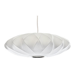 Modernica - George Nelson Bubble Pendant Lamp, Saucer Criss Cross, Small | Modernica - Taking its cues from midcentury design, this handcrafted ceiling pendant features a white crisscross saucer-shaped shade, six feet of white cord and a brushed-nickel ceiling plate. Place one over your breakfast, dining or entry table for earthy, organic and modern enlightenment.