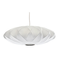 Modernica - Bubble Lamp, Saucer Crisscross, White - Taking its cues from midcentury design, this handcrafted ceiling pendant features a white crisscross saucer-shaped shade, six feet of white cord and a brushed-nickel ceiling plate. Place one over your breakfast, dining or entry table for earthy, organic and modern enlightenment.