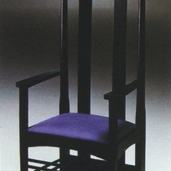 Italydesign Studios - Mackintosh Arm Chair 633 - The commanding shape and originality in design of this chair by Charles Rennie Mackintosh is unforgettable. Designed in the late 1890's for English tea rooms, the high backed chairs functioned as screens when placed around a table, providing guests with greater privacy. The chair is constructed from solid ash wood with a black lacquer finish and padded leather seat cushion. The open wood grain adds interest and texture, attesting to the chair's solid wood construction. This stunning chair can be used individually in an entrance hall, bedroom, or office, or grouped around a table. An armless version, Model 632, is also available. Made in Italy. To purchase additional colors from our upholstery material collections not present in our online selection, simply call 510 - 420 - 0386 to make your order. Please click here for information on the originality of our Modern Classics  Pricing by request. Please call 510-420-0383 or email info@italydesign.com.