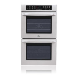 "LG - LWD3010ST 30"" Double Electric Wall Oven With 4.7 Cu. Ft. Upper/Lower Convection - Enjoy twice as many possibilities with LGs Double Built-In Wall Oven Thanks to SmoothTouch control over every function will be at your fingertips And with Crisp Convection  which creates the right airflow for more even heat distribution throughout th..."