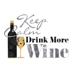 """RoomMates - Keep Calm & Drink Wine Quote Peel and Stick Wall Decals - Decorate your kitchen or dining area with these full bodied """"keep calm and drink wine"""" wall decals. These decorative decals will spruce up any wall in just seconds. Application is easy: simply peel them from the backing and apply to any smooth surface. The decals are removable and repositionable, so you can spend all the time you need getting this quote perfect on your wall."""