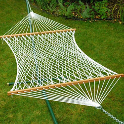 """Algoma 13"""" Single Polyester Rope Hammock - Algoma 13"""" Single Polyester Rope Hammock is the classic backyard hammock for 1! This longer length hammock allows for extra leg room, perfect for Dad to stretch out on and enjoy a restful afternoon. Polyester construction makes it extra durable to the elements. Enjoy the look, feel, and comfort of this soft polyester hammock. Made in the USA."""