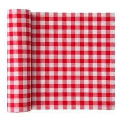 """MYdrap - Cotton Vichy Napkin, Red Vichy - Do those fresh checks say """"picnic"""" to you? You're in luck: These cotton napkins come on a roll and are perfect for a festive outdoor affair. More stylish and substantial than paper napkins, they will add some cheer to your spread and won't blow away as easily. But if you do lose one, no big deal — they are intended for only up to six uses. Keep them and wash them, or discard; it's up to you."""