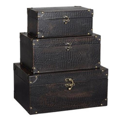 Leather Brown Trunks With Metal Hardware - These leather boxes would be perfect for hiding clutter in a study or den.
