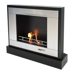 Black and Stone - Ethanol-Fueled Floor Or Wall Mount, Portable Fireplace - Black, Stainless - Features: