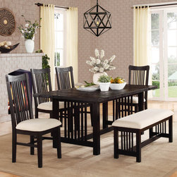 Homelegance - Homelegance Irrington 5 Piece Trestle Dining Room Set in Black Driftwood - A black driftwood finish lends a new take on traditional Mission styling in the Irrington Collection. Vertical slat back chairs  with beige fabric seats  flank the rough-hewn tabletop that stands as the focal point of this dining offering. Also available is a 47-inch coordinating bench.