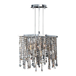 Worldwide Lighting - Worldwide Lighting W83124C18-AM Fiona 3-Light Chrome Finish Chandelier - Worldwide Lighting W83124C18-AM Fiona 3-Light Chrome Finish with Amber Crystal Pendant Chandelier