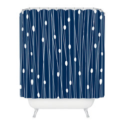 DENY Designs - Heather Dutton Navy Entangled Shower Curtain - Who says bathrooms can't be fun? To get the most bang for your buck, start with an artistic, inventive shower curtain. We've got endless options that will really make your bathroom pop. Heck, your guests may start spending a little extra time in there because of it!