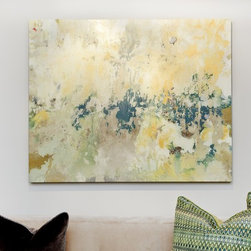 Zen Solitude Artwork - We love the grassy green and soft yellow palette of our Zen Solitude Art Print. Giclée on canvas with a textural knife-gel finish, this abstract print has a calming, meditative quality that makes it ideal for cozy lounges, bedrooms, and offices. At 40″ x 50″, it has a great presence and hangs beautifully and easily over a sofa.  This piece is custom made. Please allow 3-4 weeks for delivery.