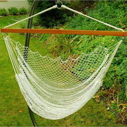 "Algoma Net Company, Div. of Gleason Co - Hanging Nylon Net Chair - Sweet spot to study! Or just relax. This woven nylon net hammock chair has a wood spreader bar that spans 47"" creating a comfortable nesting place. Hammock swing hangs from trees, porches, patios or with Algoma's hanging chair stand, model 4750BR (sold separately)."