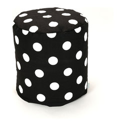 Majestic Home - Indoor Black Large Polka Dot Small Pouf - Put some polka on your pouf. This fresh upgrade on the classic beanbag functions as a footstool, seat or side table in your favorite casual setting. Plus, you've got to love the easy care — just unzip the slipcover and machine wash.