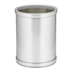 Kraftware - Mylar 10 in. Round Wastebasket in Brushed Chrome - Made in USA. 10 in. Dia. x 12 in. H (1.5 lbs.)Kraftware's Mylars bring the look of metal at vinyl prices. Great value, great looks and great entertaining sum up the Mylar collection.