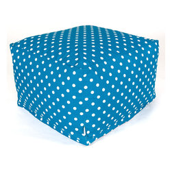 Majestic Home - Indoor Ocean Small Polka Dot Large Ottoman - A whole lotta dots on this awesome ottoman add up to cool style and versatility. You can use it as a seat, footstool or coffee table — and talk about easy care: Just unzip the cotton twill slip and pop it in the wash.