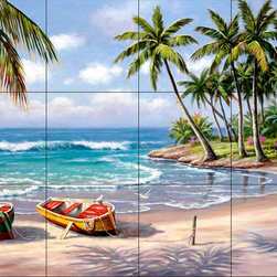 The Tile Mural Store (USA) - Tile Mural - Tropical Bay - Kitchen Backsplash Ideas - This beautiful artwork by Sung Kim has been digitally reproduced for tiles and depicts a tropical beach scene.  Beach scene tile murals are great as part of your kitchen backsplash tile project or your tub and shower surround bathroom tile project. Waterview images on tiles such as tiles with beach scenes and sunset scenes on tiles.  Tropical tile scenes add a unique element to your tiling project and are a great kitchen backsplash  or bathroom idea. Use one or two of our beach scene tile murals for a wall tile project in any room in your home for your wall tile project.