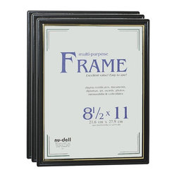 Nu-Dell - Nu-Dell Easy Slide-In Document Frame - 8.50 x 11 Insert - Horizontal, Vertical - Add a little luster to your wall Space with the original one-piece plastic frame. One-piece design with easy-slide-in feature means no corners to cut or come apart. Micro-tooled to hang vertically or horizontally. Black plastic frame with gold stripe and plastic face holds 8-1/2 x 11 documents.