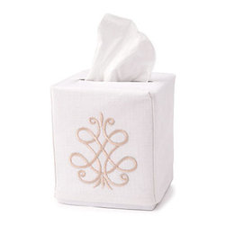 Jacaranda Living - Tissue Box Cover, French Scroll Beige - Add a touch of elegance to a plain box of tissue with this linen handmade, hand embroidered cover. Machine washable and made by a group of women living on a South African farm.