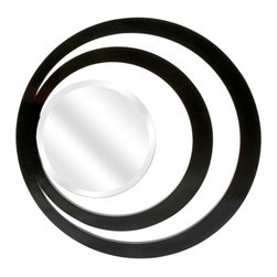 Contemporary Black Glamourazzi Wall Mirror - *With a wink back to art deco style, the Glamourazzi wall mirror has two rings outlining the beveled mirror in a striking, stand alone wall piece.