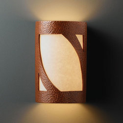 Justice Design Group - Ambiance Hammered Copper Small Lantern Bathroom ADA Wall Sconce - - Small Lantern Open Top & Bottom Wall Sconce.  - Made in USA  - Shade Material - Ceramic Justice Design Group - CER5325HMCP