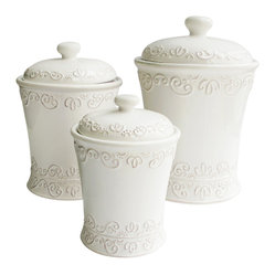 Jay Import Co. - Bianca Scroll Canisters Set - The classic styling of this canister set could find a pleasing home in any kitchen. Encase your dry goods in something beautiful with these artistic earthenware containers.