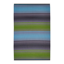Fab Habitat - Berlin Rug, Green & Multicolor (4' x 6') - Eco-chic and crafted using Fair Trade principles, this rug is a purchase you can feel good about. This unique striped pattern is created using high quality recycled woven plastic straws, and comes in a variety of colors and sizes. This innovative, stylish rug is appropriate for use indoors or out on the patio.