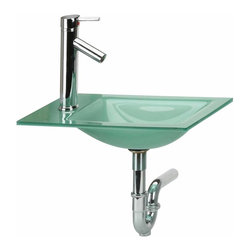Renovators Supply - Counter Sinks Green Frosted Glass Square Sink/Faucet/P-trap | 12423 - Small Square Sink. Sonoma MINI COUNTER TOP Sink Package Deal with FAUCET & P-TRAP. This tempered glass sink has a unique sandblasted finish giving it a stunning iridescent FROSTED GLOW. Its MINI SIZE maximizes small bathroom spaces. Includes easy-grab SINGLE LEVER chrome faucet with top rated 500-000 cycle cartridge & solid brass inner workings & p-trap. Drain sold separately. 18 1/2 in. W x 11 1/8 in. proj.