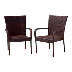 Great Deal Furniture - Ferndale Outdoor Brown Wicker Dining Chairs (Set of 2) - The Ferndale Outdoor Brown Wicker Dining Chairs are made out of one-of-a-kind rich, brown color wicker that will compliment any nearby landscape. The all-weather wicker allows these chairs to last in any weather condition with little maintenance. These sturdy chairs are also stylish and stackable for easy storage.