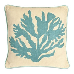 "IMAX - Gale Coral Pillow - Featuring embroidered aqua coral, this 100% cotton pillow adds a playfulness to any coastal inspired room. Filled with sylconized polyfill. Item Dimensions: (16""H x 16)"