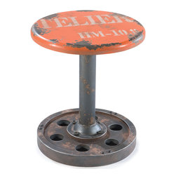 "Moe's Home Collection - Wheel Stool Orange - Seating stool. Lightweight. MDF & metal. Dimensions: 15""W x 15""D x 17""H."