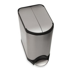 Simplehuman - simplehuman 20-Liter Butterfly Step Trash Can - The fingerprint-proof butterfly step can has an innovative butterfly lid design that opens from the center for maximum efficiency and clearance under low countertops. This slim, space-saving size makes the most of tight spaces.