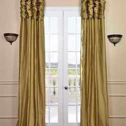 Ruched Gold Dust Thai Silk Curtain - We've taken our popular Thai Silk panels and added a ruched header valance creating the most luxurious, over the top style in window treatments out there. This style was designed and meant to be stationary and used as decorative panels to frame out your window.