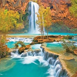 Canyon Oasis Puzzle - 500 Piece Jigsaw PuzzleCanyon Oasis is a serene 500 piece jigsaw puzzle that features the waterfalls of Havasu Falls in Havasu Canyon, Arizona. The turquoise water and contrasting yellow and green of the leaves set against the red canyon walls will make this a challenging yet enjoyable puzzle to complete.