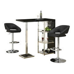 Monarch Specialties - Monarch Specialties 2342 3-Piece Glossy Black Bar Table Set with 2305 Barstools - This stylish and contemporary bar table encompasses a cool feel ideal for entertaining your guests. This piece features a spot to hang individual glasses, a top surface ideal for making cocktails, and two glass shelves that are perfect to stock all of your bar essentials and one with a convenient wine rack. The polished glossy black surfaces and chrome metal accents complete the look of this unit, making it a must-have item.