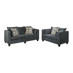 "Benchley - 2-Piece Monaco Eclipse Fabric Upholstered Sofa and Love Seat Set - 2-Piece Monaco eclipse fabric upholstered sofa and love seat set with rounded square arms and piping trim accents. Sofa measures 88"" x 38"" x 39"" h. Love seat measures 63"" x 38"" x 39"" h. Chair and ottoman also available separately. This set comes as shown or available in fawn and chocolate color also."