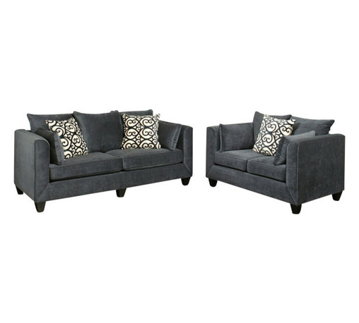 """Benchley - 2-Piece Monaco Eclipse Fabric Upholstered Sofa and Love Seat Set - 2-Piece Monaco eclipse fabric upholstered sofa and love seat set with rounded square arms and piping trim accents. Sofa measures 88"""" x 38"""" x 39"""" h. Love seat measures 63"""" x 38"""" x 39"""" h. Chair and ottoman also available separately. This set comes as shown or available in fawn and chocolate color also."""