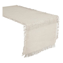 """Saro - Fringed Burlap Tablecloth, Ivory - 90x120"""" - Style the table in burlap, because burlap never gets old. Available in all natural colors as well and vibrant hues."""