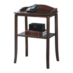 Monarch Specialties - Monarch Specialties Telephone Table in Walnut - This contemporary telephone table is not only stylish for your living area, but can also serve as storage space. Specifically, it features a shelf to hold your magazines and books and a smooth, solid top surface perfect for your telephone and notepads. With its burnt walnut finish, tapered legs, and decorative details, this accent piece can blend into any decor. What's included: Telephone Table (1).