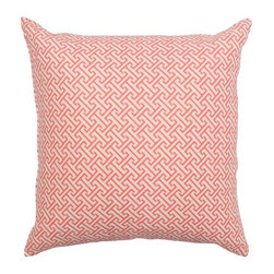 Pre-owned Greek Key Motif Coral Pillow - We love a Modern throw pillow. This coral pillow has a fantastic Greek key motif! It's the perfect summery touch to spruce up any decor!