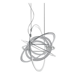 """Artemide - Artemide Copernico 500 suspension light - The Copernico 500 suspension light from Artemide has been designed by Carlotta de Bevilacqua and Paolo Dell'Elce. Composed of nine concentric mobile ellipses cut from a single aluminum plate, which support a circuit of 384 white LEDs. The ellipses rotate independently on two different axes, enabling the light emission to be directed and numerous spatial configurations to be obtained at the same time. When the ellipses are level, it is completely flat. cUL LISTED.      Product Details:  The Copernico 500 suspension light from Artemide has been designed by Carlotta de Bevilacqua and Paolo Dell'Elce. Composed of nine concentric mobile ellipses cut from a single aluminum plate, which support a circuit of 384 white LEDs. The ellipses rotate independently on two different axes, enabling the light emission to be directed and numerous spatial configurations to be obtained at the same time. When the ellipses are level, it is completely flat. cUL LISTED.  Details:     Manufacturer: Artemide   Designer: Carlotta de Bevilacqua and Paolo Dell'Elce   Made in: Italy   Dimensions: Height: 78 3/4"""" (200 cm) X Width: 19 5/16"""" (49 cm)   Light bulb: 384 x 27W LED's (included)   Material: Aluminum"""