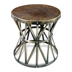 Kathy Kuo Home - Zemico Dark Antique Brass Hammered Rustic Iron Side Table - Constructed from hand hammered iron- finished in a deep antique brass finish, this beautiful piece adds depth, and visual texture to any room. Hand made, no two are alike.