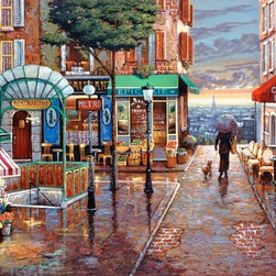 Murals Your Way - Rainy Day Stroll Wall Art - Painted by John O'Brien, Rainy Day Stroll wall mural from Murals Your Way will add a distinctive touch to any room