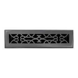 """Brass Elegans 120B DBZ Brass Decorative Floor Register Vent Cover - Victorian Sc - This dark bronze finish solid brass floor register heat vent cover with a victorian scroll design fits 2 1/4"""" x 12"""" x 2"""" duct openings and adds the perfect accent to your home decor."""
