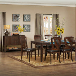 Homelegance - Homelegance Dickens 8 Piece Dining Room Set in Rich Brown - Vertical slat back chairs flank the tables of the transitionally styled Dickens Collection. Finished in a rich brown and featuring hints of Arts & Crafts styling  and offered in traditional or counter height  the casual dining group will be a perfect fit in your home.