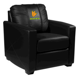 Dreamseat Inc. - University of Oregon NCAA Ducks Xcalibur Leather Arm Chair - Check out this incredible Arm Chair. It's the ultimate in modern styled home leather furniture, and it's one of the coolest things we've ever seen. This is unbelievably comfortable - once you're in it, you won't want to get up. Features a zip-in-zip-out logo panel embroidered with 70,000 stitches. Converts from a solid color to custom-logo furniture in seconds - perfect for a shared or multi-purpose room. Root for several teams? Simply swap the panels out when the seasons change. This is a true statement piece that is perfect for your Man Cave, Game Room, basement or garage.
