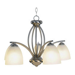Premier - Five Light 24 inch Chandelier 617628 - Brushed Nickel - Brighten your dining area or foyer with a contemporary chandelier in a modern brushed nickel finish.